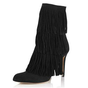 YDN Stiletto High Heel Ankle Boots with Fringes